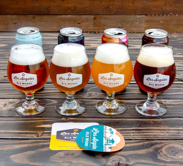 Lineup of four different beers for a virtual beer tasting